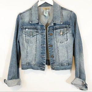 See Thru Soul cropped denim jacket sz M